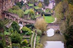 卢森堡Fortess河桥梁 图库摄影