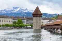 卢赛恩市都市风景在中央瑞士 免版税库存图片
