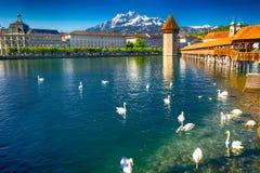 卢赛恩的历史的市中心有著名教堂桥梁和湖的卢赛恩,卢赛恩,瑞士 免版税库存照片