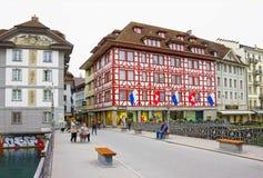 卢赛恩,瑞士- 2017年5月02日:老房子在卢赛恩,瑞士 库存照片