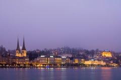 卢赛恩,瑞士- 2016年12月31日:著名la的看法 库存照片