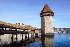 卢赛恩,瑞士2017年12月-23 :城市的大厦沿琉森湖的 卢赛恩是一个城市在中央 免版税库存照片