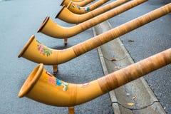 卢赛恩,瑞士- 2013年10月27日一个小组音乐家排行了卢赛恩和戏剧传统歌曲街道从Alphorn t 免版税库存图片