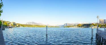 卢赛恩,瑞士- 2017年4月30日:美丽的湖卢赛恩 库存照片