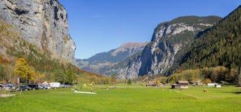 卢达本纳谷,伯纳Oberland,瑞士 免版税库存图片