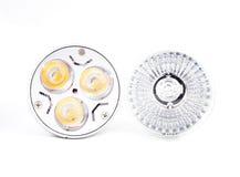 卤素斑点电灯泡和LED节能电灯泡 免版税库存图片