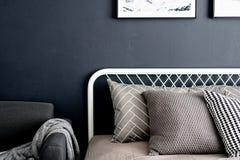 卧室与舒适的图表枕头的角落设置在与水军蓝色的中立颜色绘了墙壁舒适内部/相互 免版税库存照片