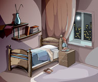 卧室内部在动画片样式的晚上 传染媒介睡觉概念背景 图库摄影