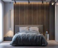 卧室内部现代样式的, 3D翻译 免版税图库摄影