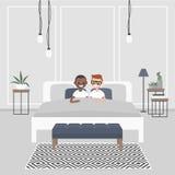 卧室内部现代 在窦的年轻成人夫妇  向量例证