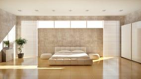 卧室内部现代 免版税库存图片