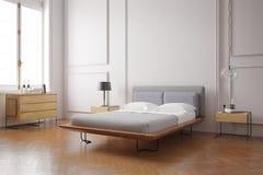 卧室内部现代 库存照片