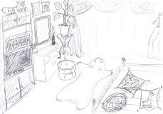 卧室内部草图 库存图片
