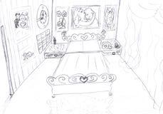 卧室内部草图 库存照片