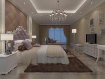 卧室内部3D翻译 库存照片