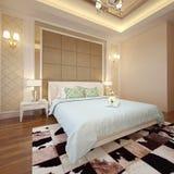 卧室内部3D翻译 免版税图库摄影