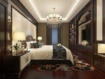 卧室内部3D翻译 免版税库存照片