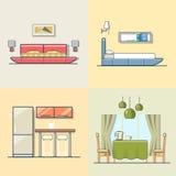 卧室厨房居住的餐厅内部室内 向量例证