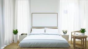 卧室和咖啡桌/3d翻译 免版税图库摄影