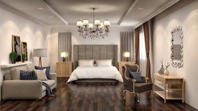 卧室和客厅内部 3d例证 免版税库存照片