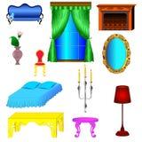 卧室和客厅的古色古香和现代家具 库存照片