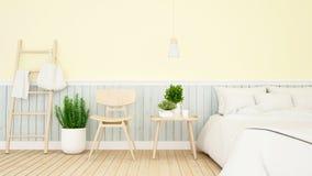 卧室和居住的淡色设计- 3d翻译 皇族释放例证