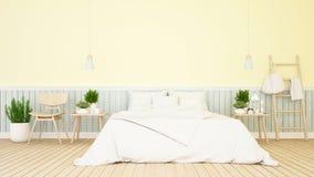 卧室和居住的淡色设计- 3d翻译 库存例证