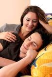 卧室夫妇修饰 免版税库存图片