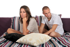 卧室夫妇消沉 免版税库存照片