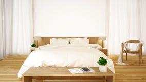 卧室干净的设计- 3d翻译 免版税库存图片