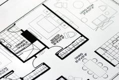 卧室楼层集中的总计划 免版税库存照片
