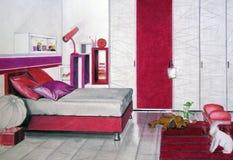 卧室红色草图 免版税库存图片