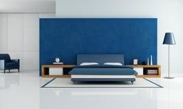 卧室蓝色现代 免版税库存图片