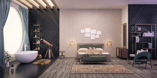 卧室设计内部现代 向量例证