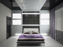 卧室3d翻译的现代内部 皇族释放例证