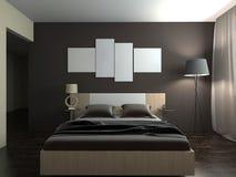 卧室3d翻译的现代内部 免版税库存图片
