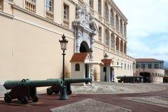 卫兵临近王子摩纳哥的` s宫殿 免版税库存图片