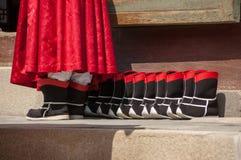 卫兵使用的礼仪起动在景福宫宫殿,南K 免版税图库摄影