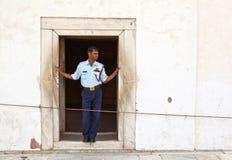 卫兵在私有观众或Diwan大厅给予注意我Khas 库存照片