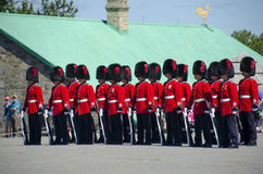 卫兵的变动在魁北克的Citadelle的 免版税库存图片