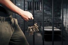 卫兵锁上监狱 库存照片