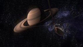 卫星卡西尼接近土星 卡西尼惠更斯是一台无人航天器被送到行星土星 CG动画 免版税库存照片