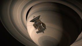 卫星卡西尼接近土星 卡西尼惠更斯是一台无人航天器被送到行星土星 CG 皇族释放例证