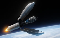 卫星和火箭 库存例证