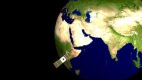 卫星的自转在地球附近 向量例证