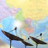 卫星盘传输数据 库存图片