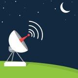 卫星盘的平的样式例证在晚上 库存照片