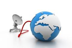 卫星盘连接了地球 免版税库存照片