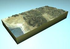 卫星看法Challapata,玻利维亚,地图,部分3d 免版税库存照片