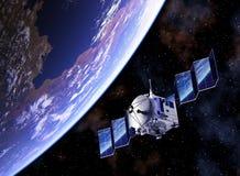 卫星部署太阳电池板和在他们反映的行星地球 向量例证